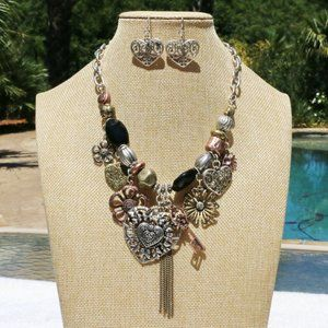 Boho Statement Necklace Heart Set Mixed Metals NWT